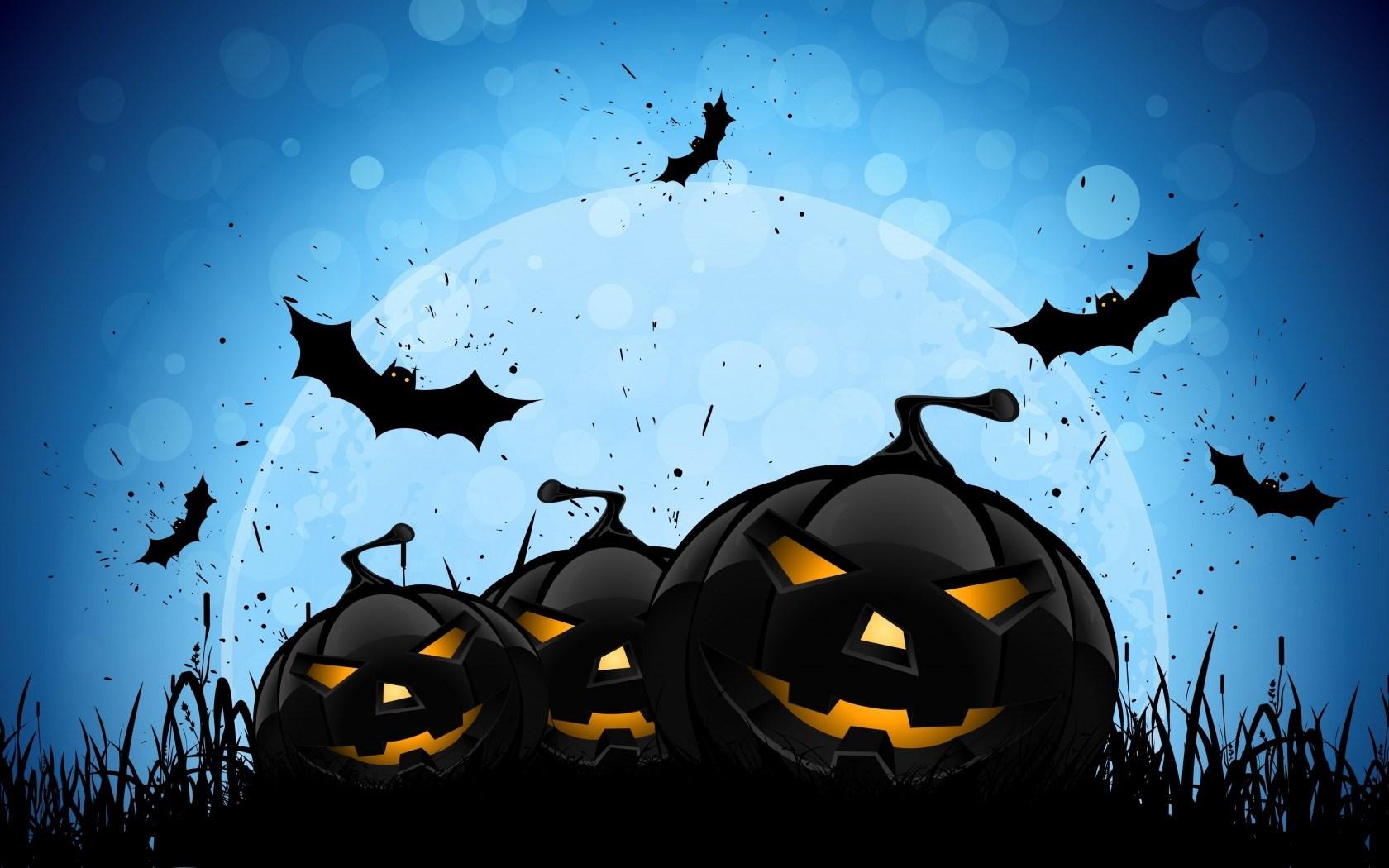 Halloween Creepy Pumpkins Bats Full Moon Midnight