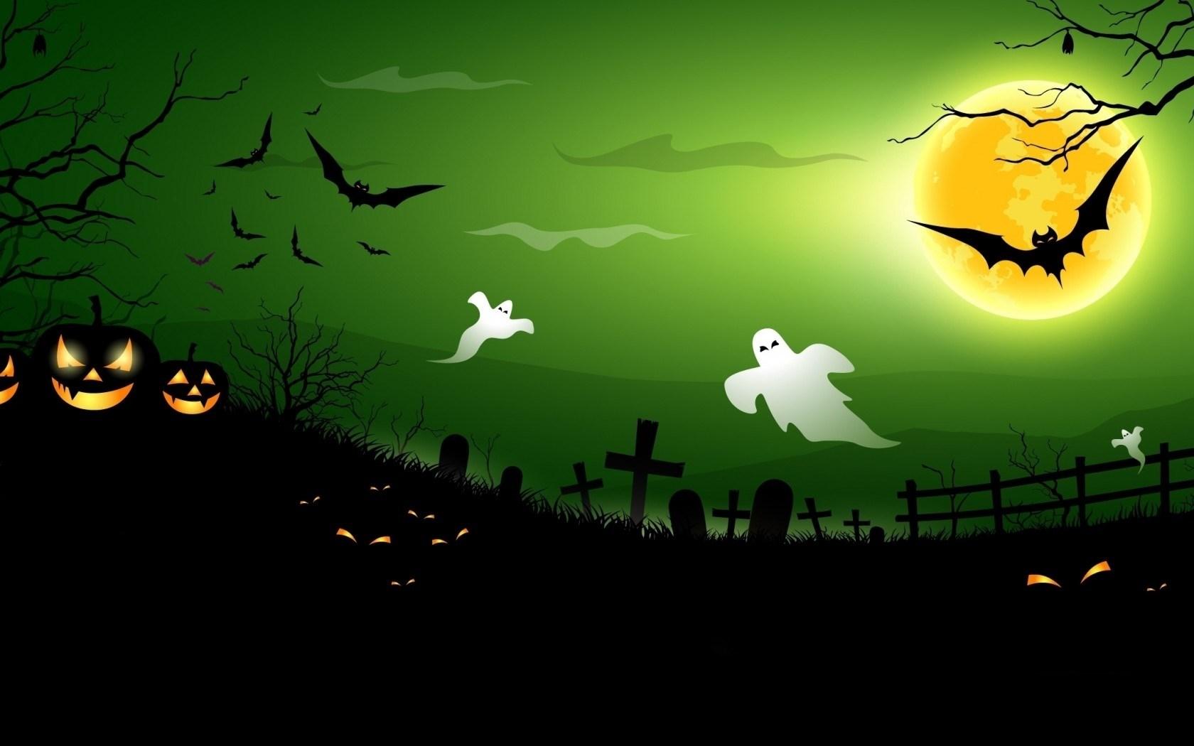 Halloween Creepy Pumpkins Bats Full Moon Midnight Ghosts
