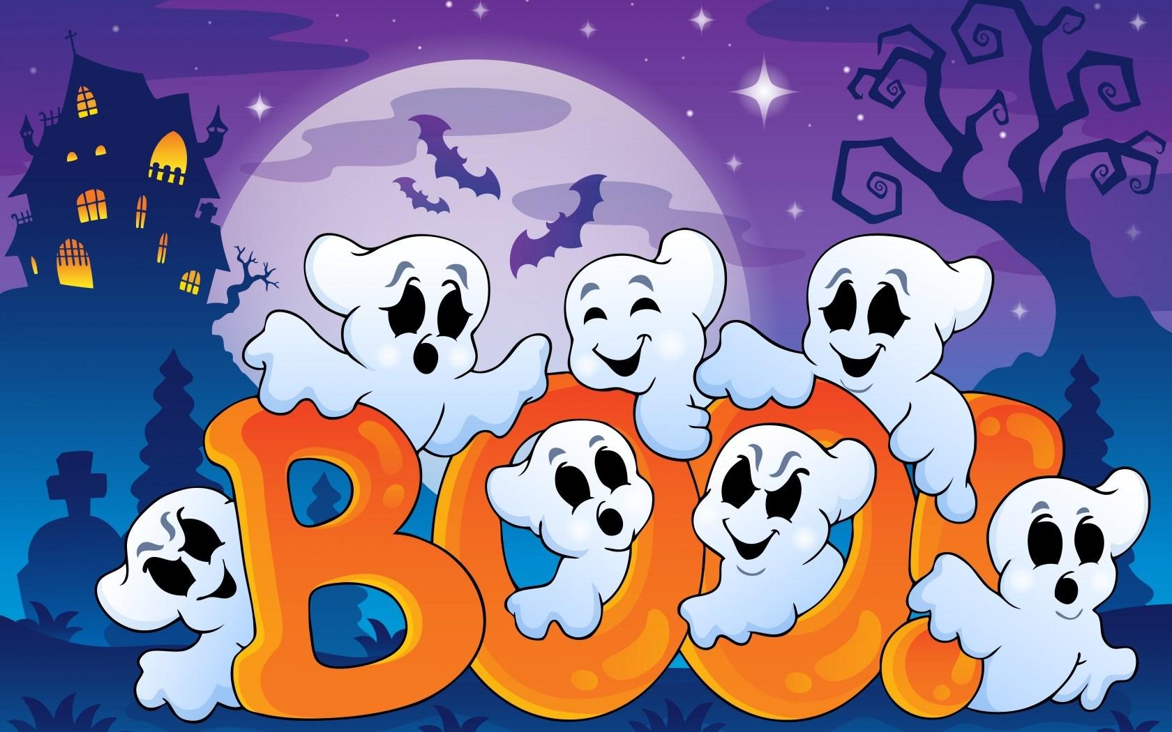 Halloween Funny Ghosts Creepy House Bats Boo Full Moon Art Vector
