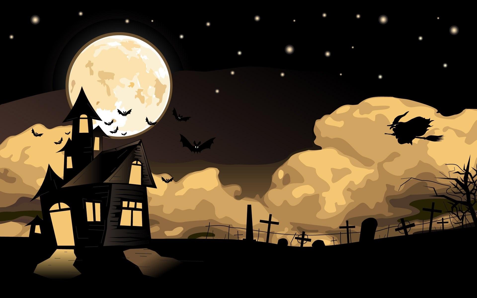 Halloween House Witch Bats