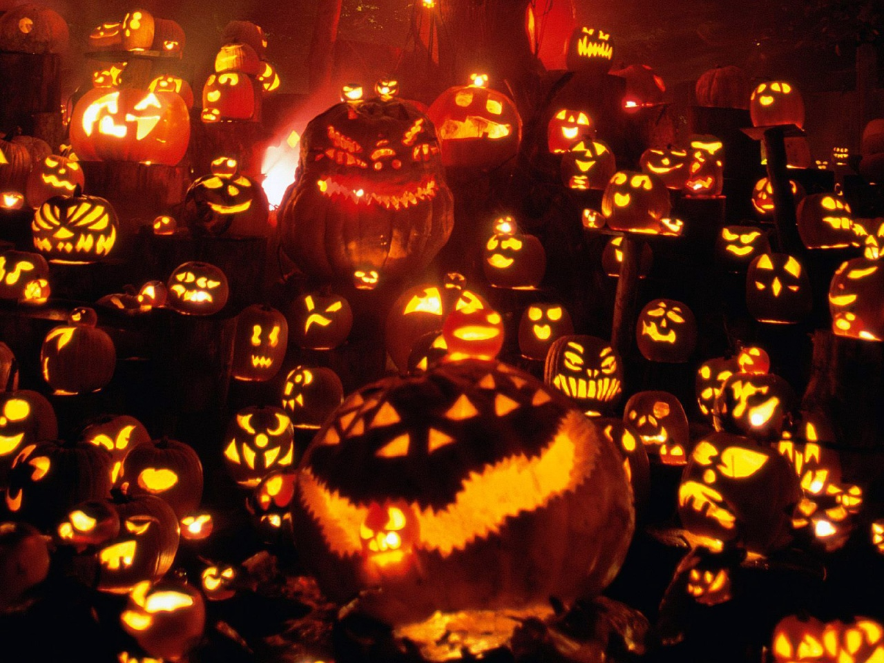 1024x768 1152x864 1280x1024 1600x1200 1280x960. Pumpkin invasion - halloween wallpaper
