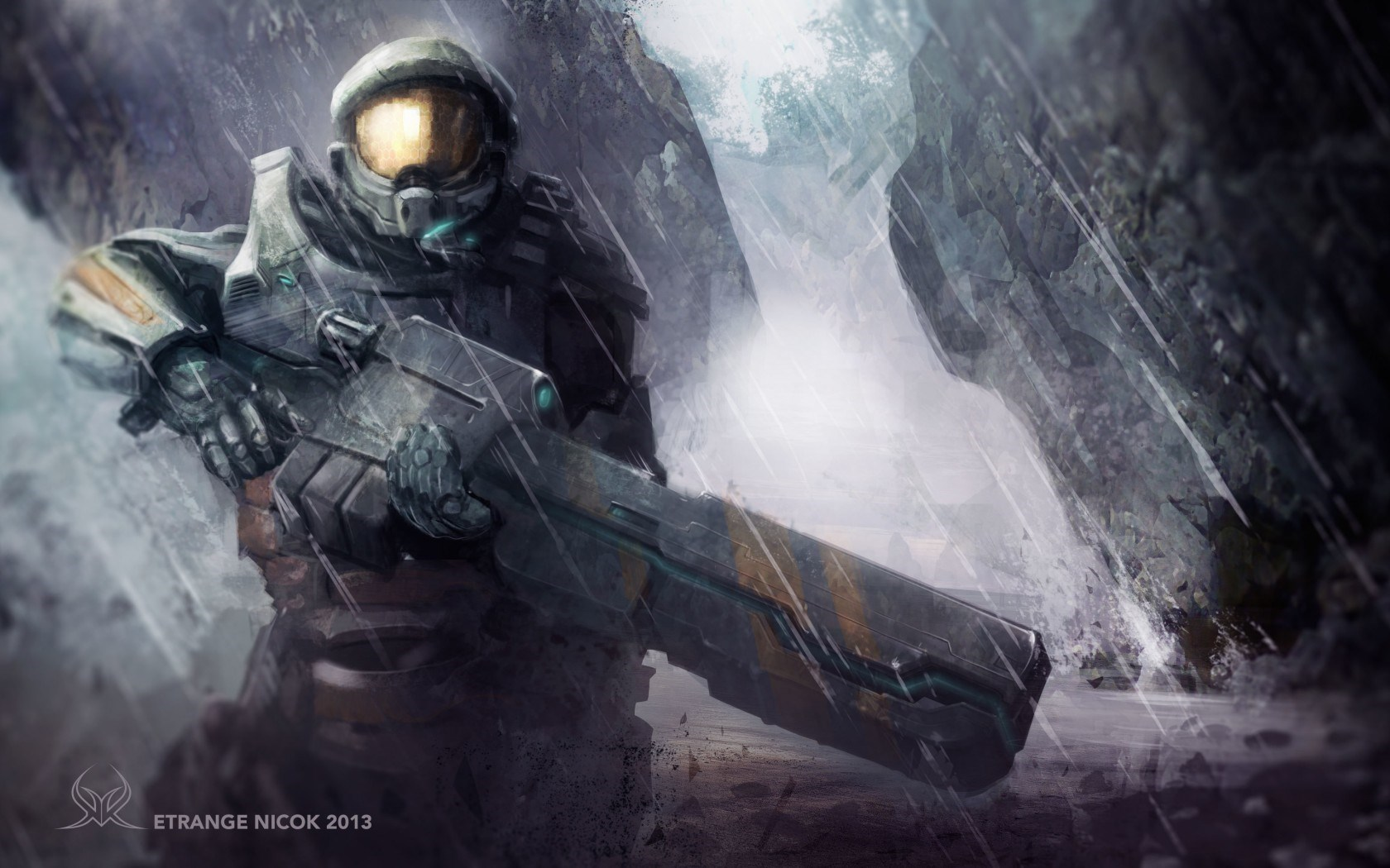 Halo Armor Warrior Weapon Rain Art