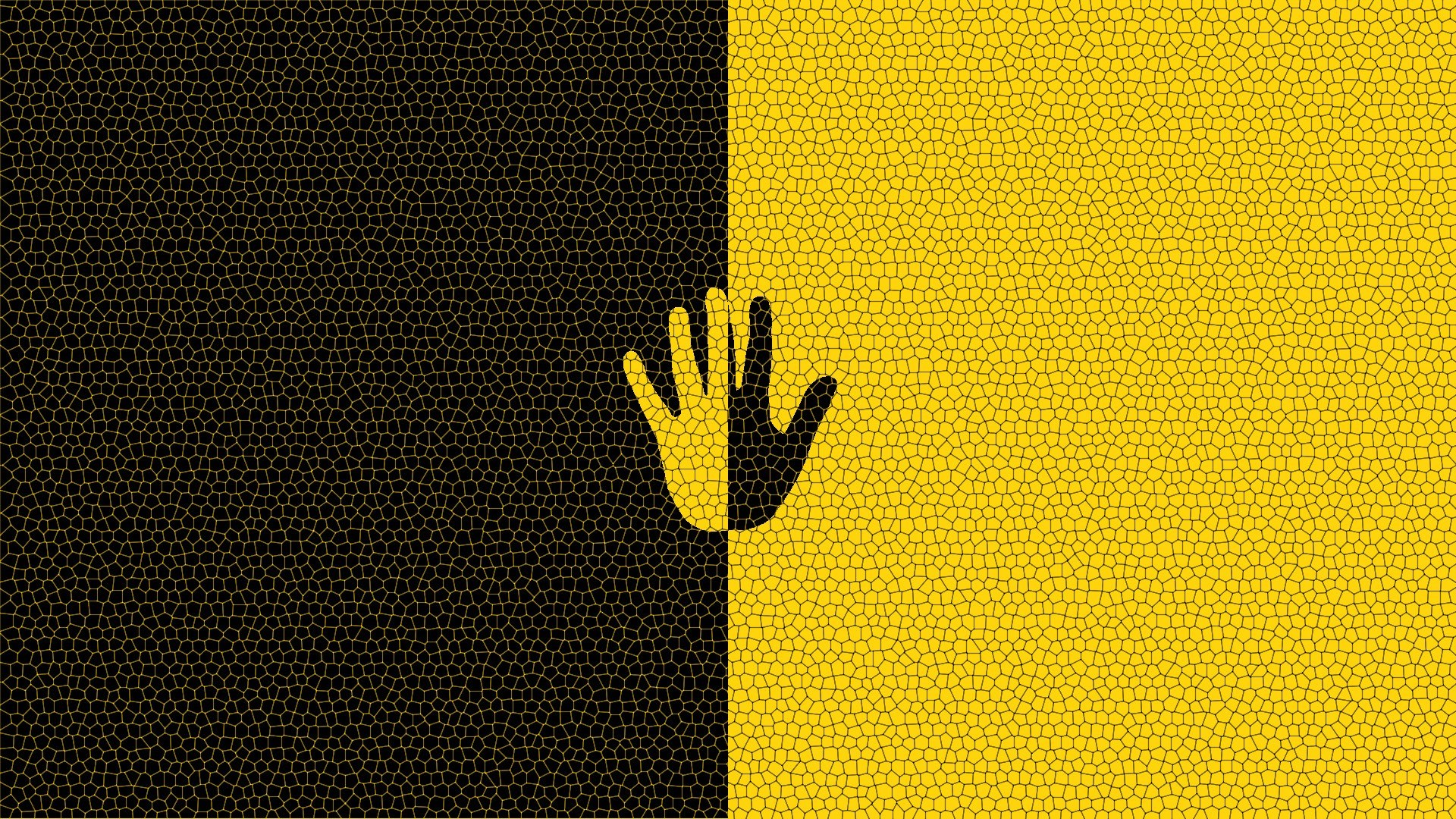 Hand Black and Yellow Art
