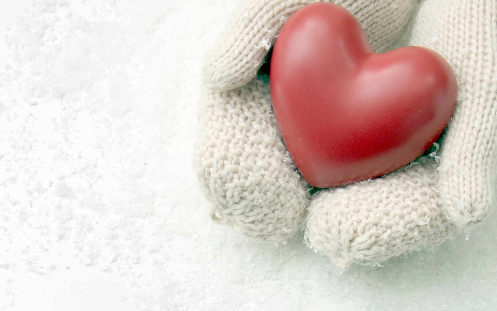 Hands Gloves Snow Heart Love