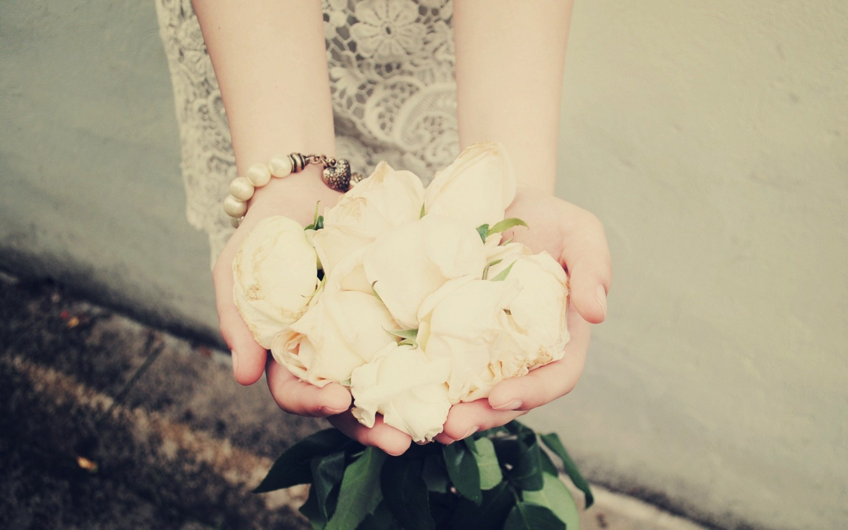 Hands Roses White Bracelet Girl