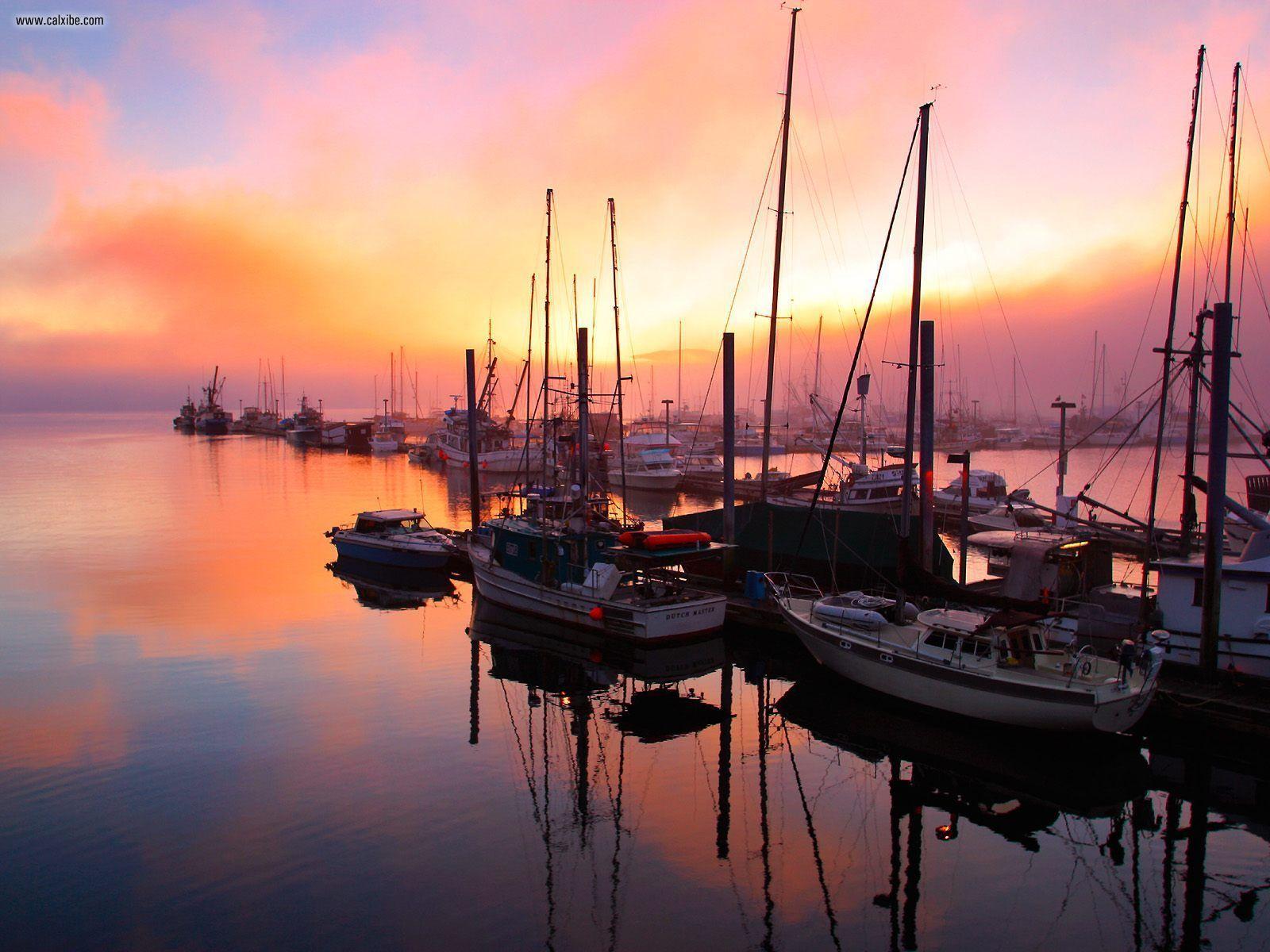 Juneau Boat Harbor At Sunset Alaska (Nature)