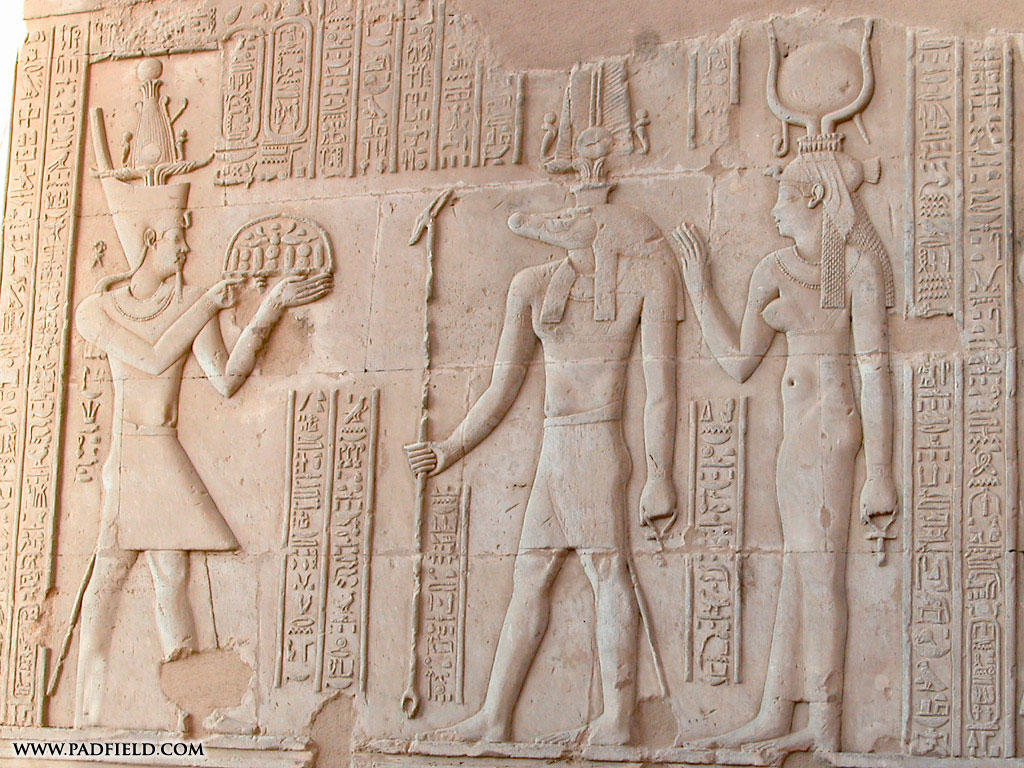... Pharaoh presenting gifts to Sobek and Hathor (Kom Ombo Temple, Egypt) ...