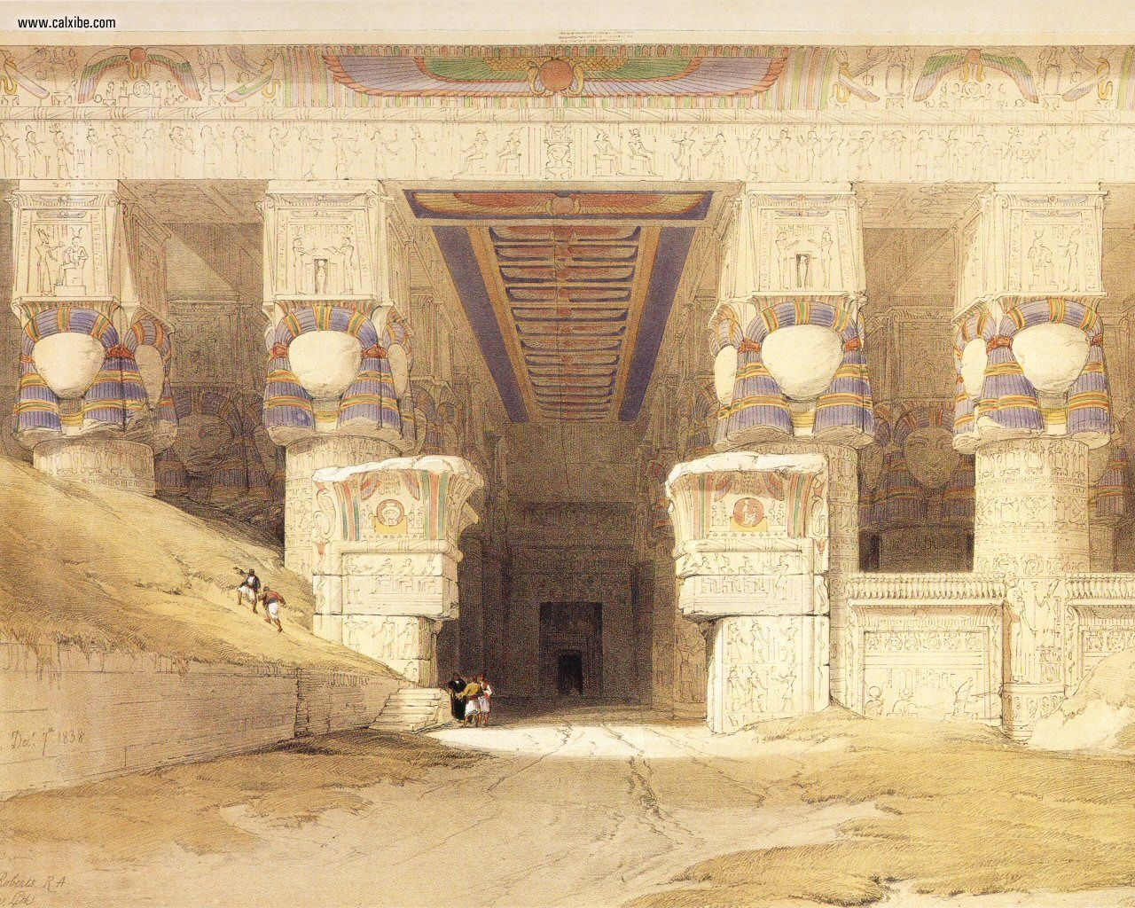 David Roberts pg06 The Facade Of The Temple Of Hathor At Dendera