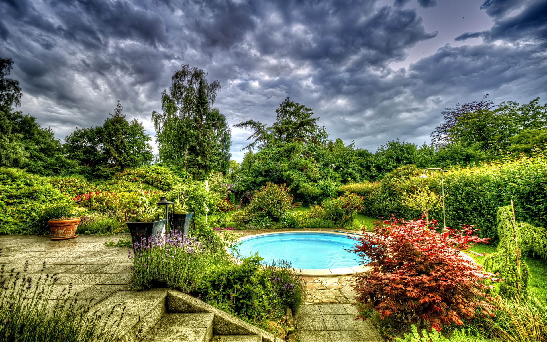 Gardens Sky Pools Clouds HDR Nature Wallpapers and photos