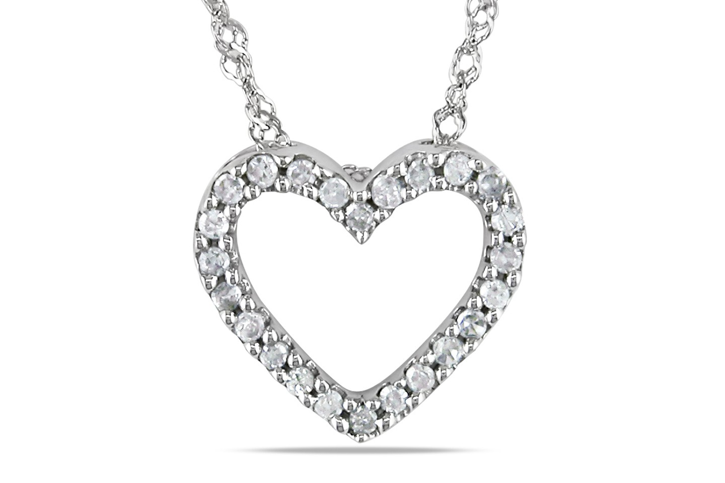 1/10 CT Diamond TW Heart Pendant Necklace 14K White Gold