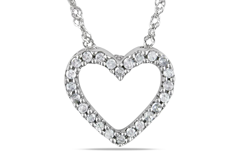 1/10 CT Diamond TW Heart Pendant Necklace 14K White Gold