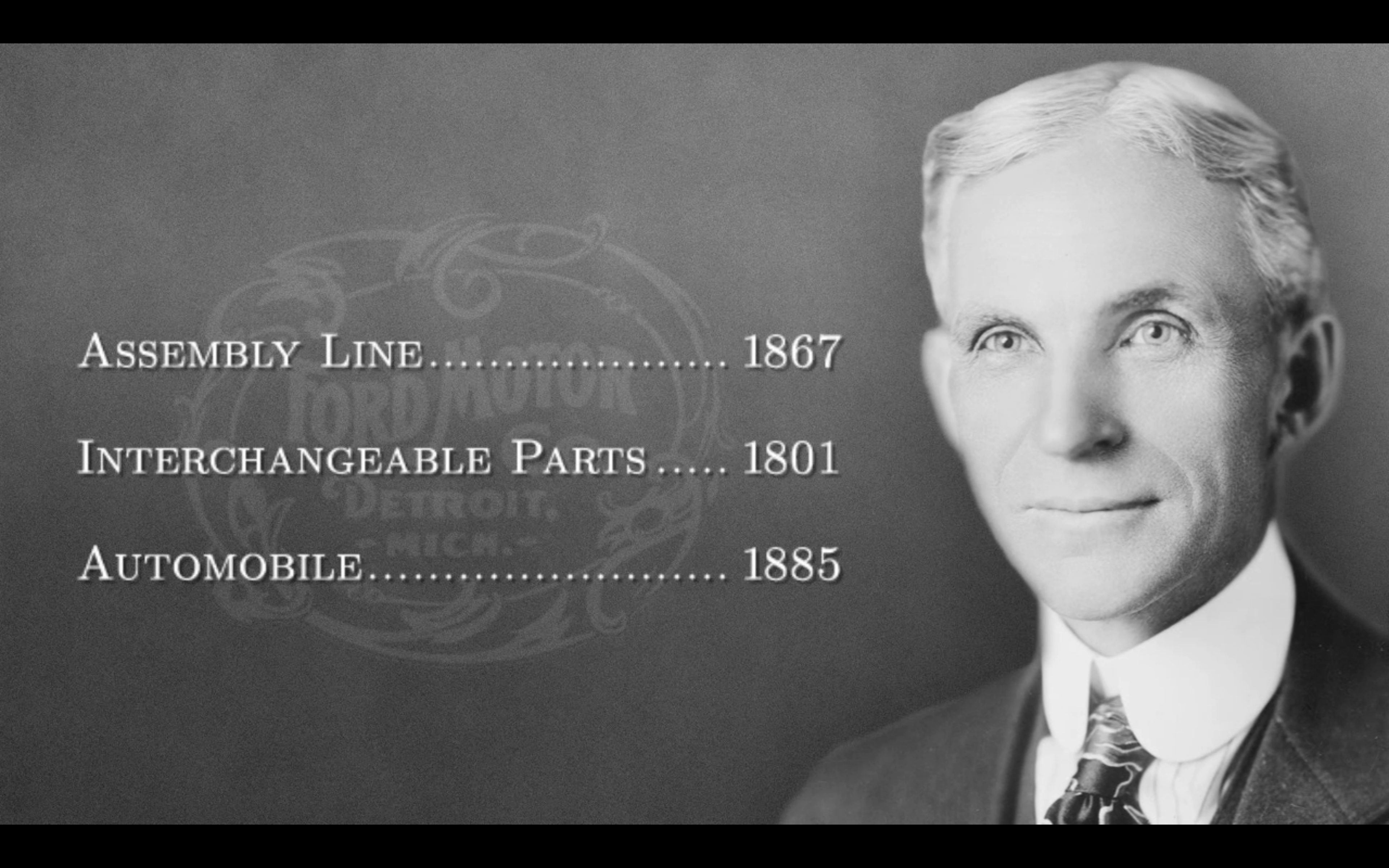 """Henry Ford and The Ford Motor Company didn't invent the assembly line,"