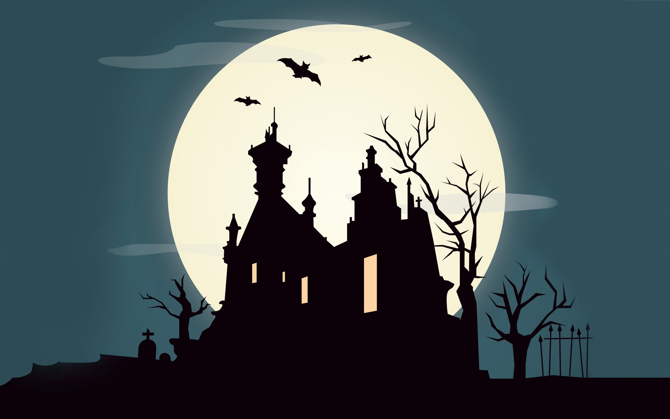 Holiday Halloween October Full Moon Castle Bats