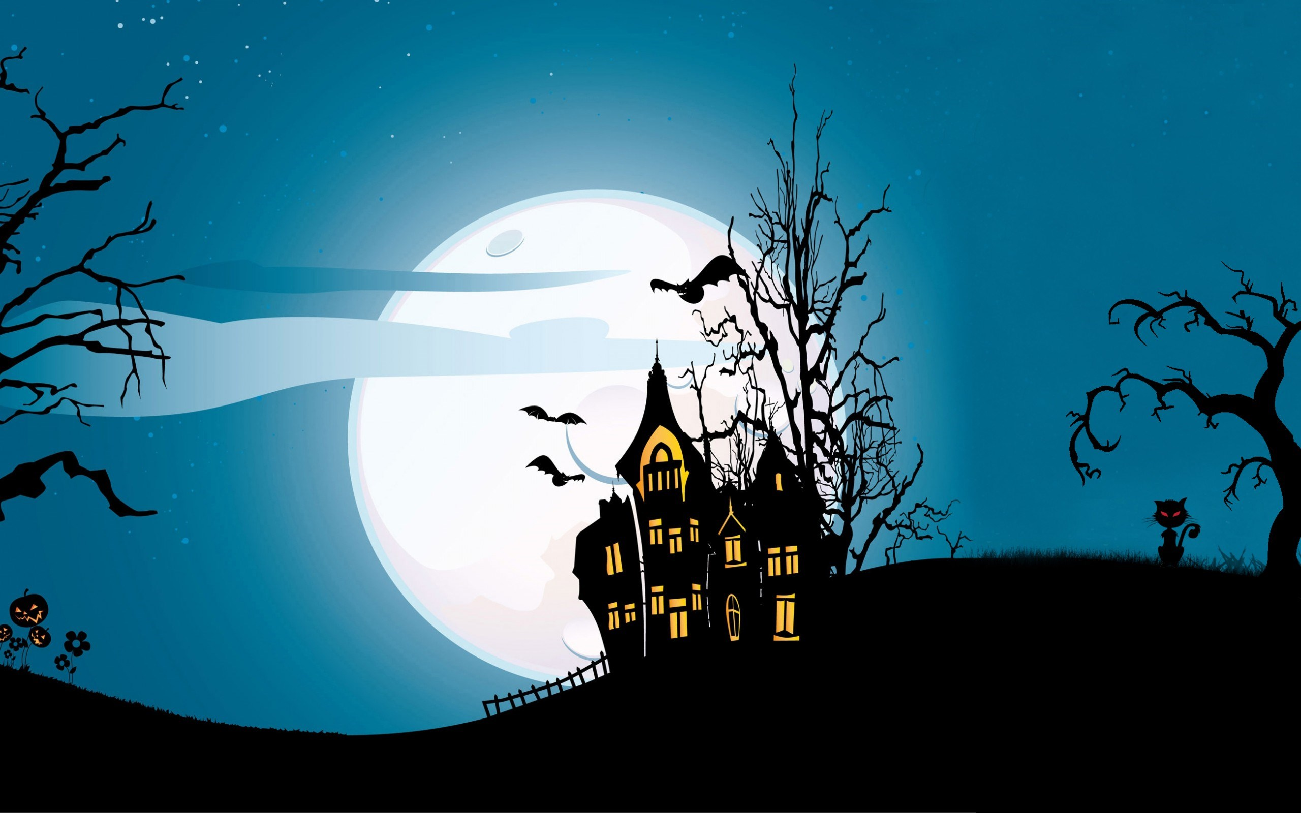 Holiday Halloween Scary Castle Creepy Full Moon Bats Pumpkins Cat Midnight