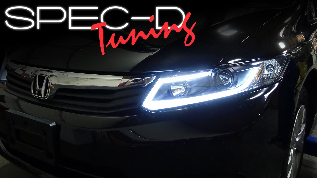 SPECDTUNING INSTALLATION VIDEO: 2012 HONDA CIVIC FIBER OPTIC LED BAR PROJECTOR HEADLIGHTS. Spec D Tuning