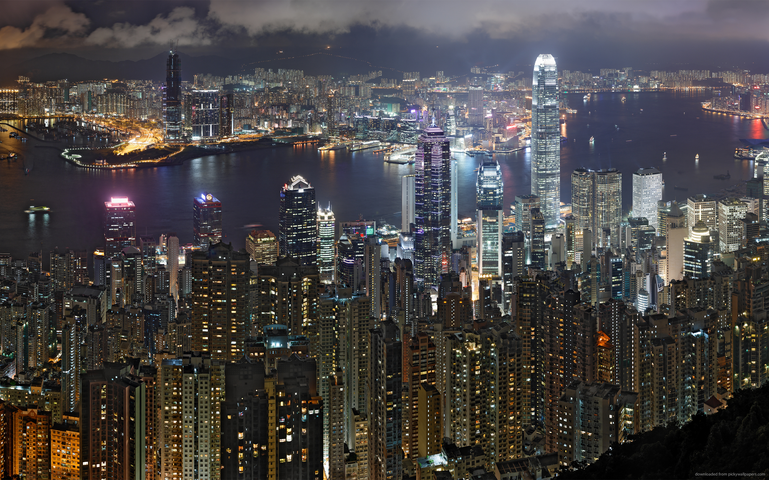 ... Hong Kong Night Skyline for 2560x1600