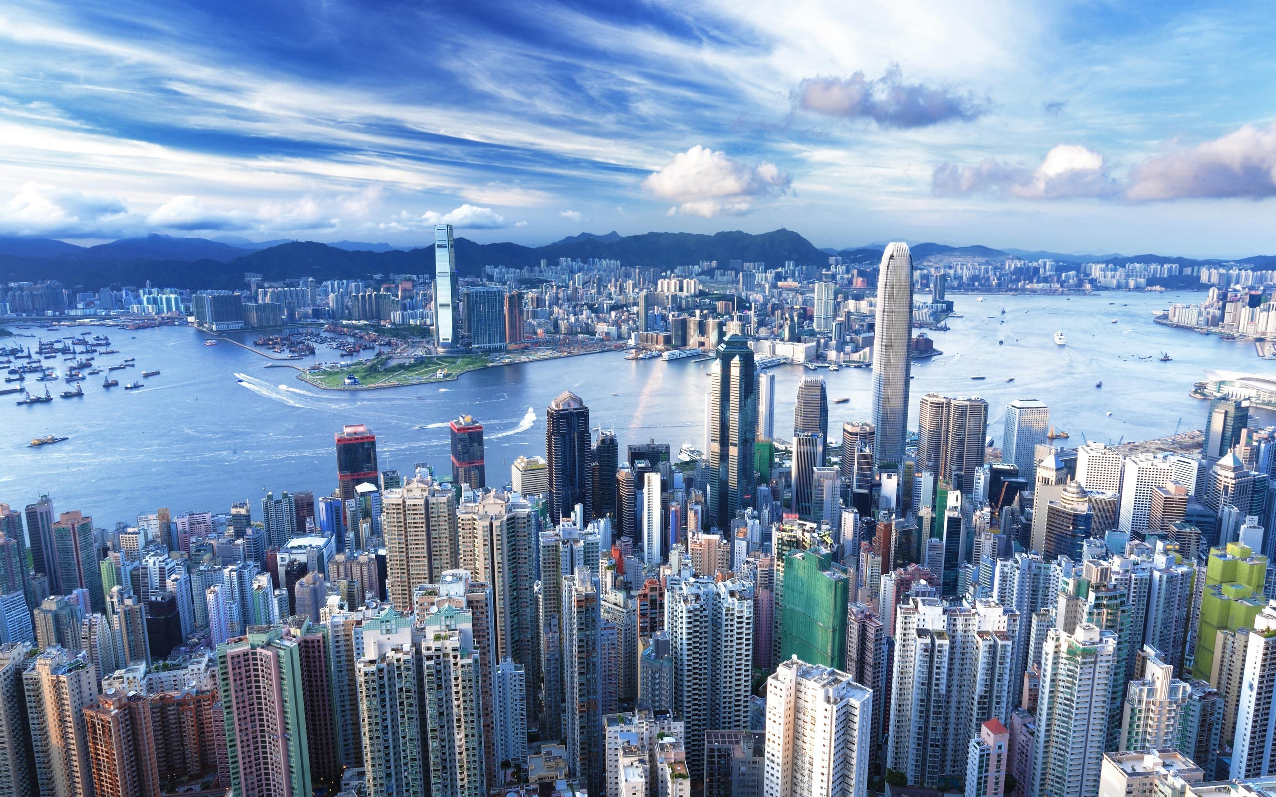 Panoramic View Of Hong Kong At Night China Wallpapers