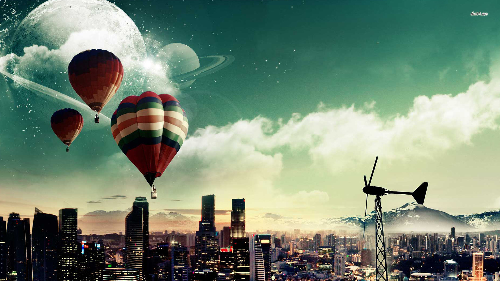 Hot Air Balloon Fantasy Wallpaper