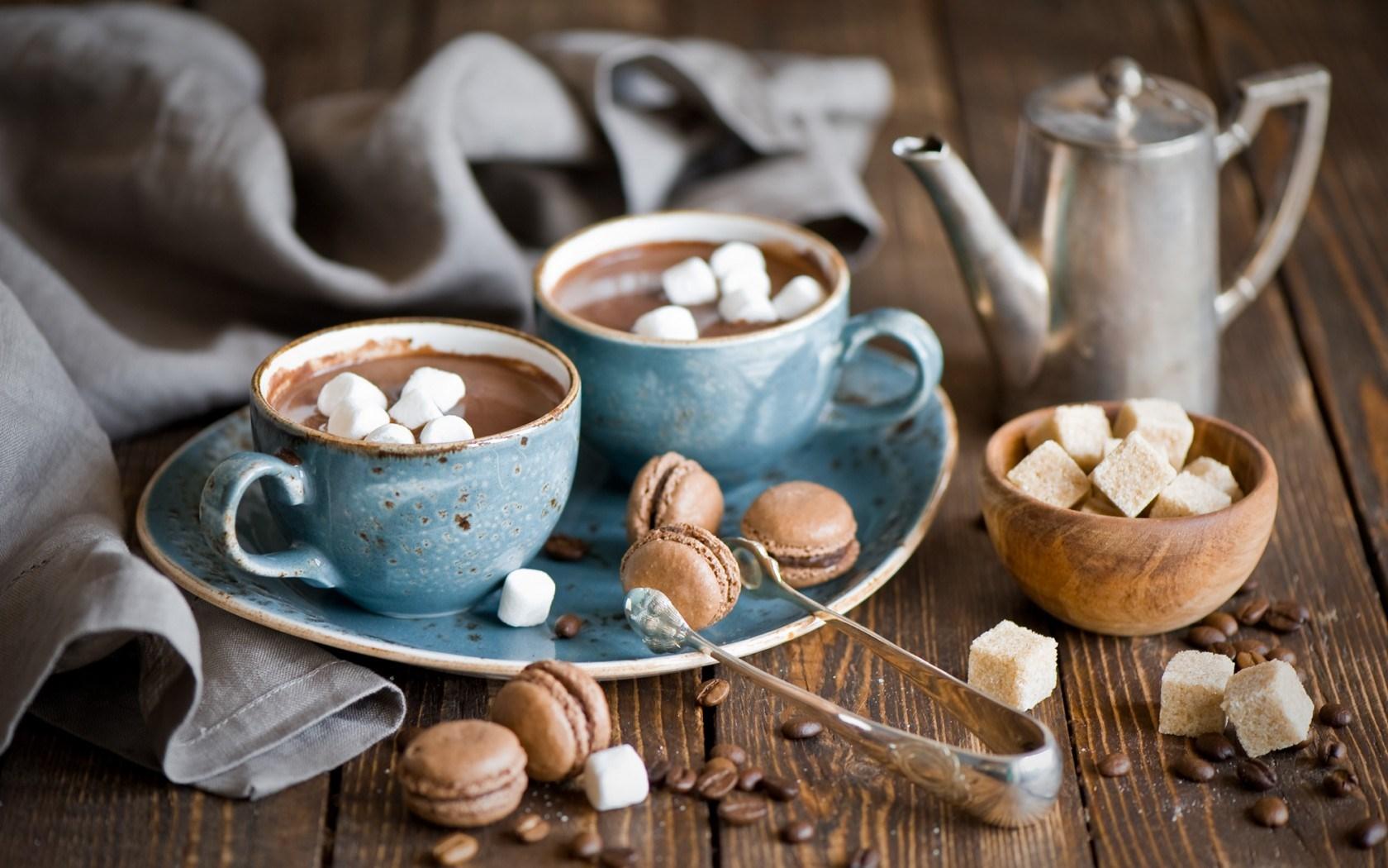 Hot Chocolate Mugs Coffee Beans Marshmallows