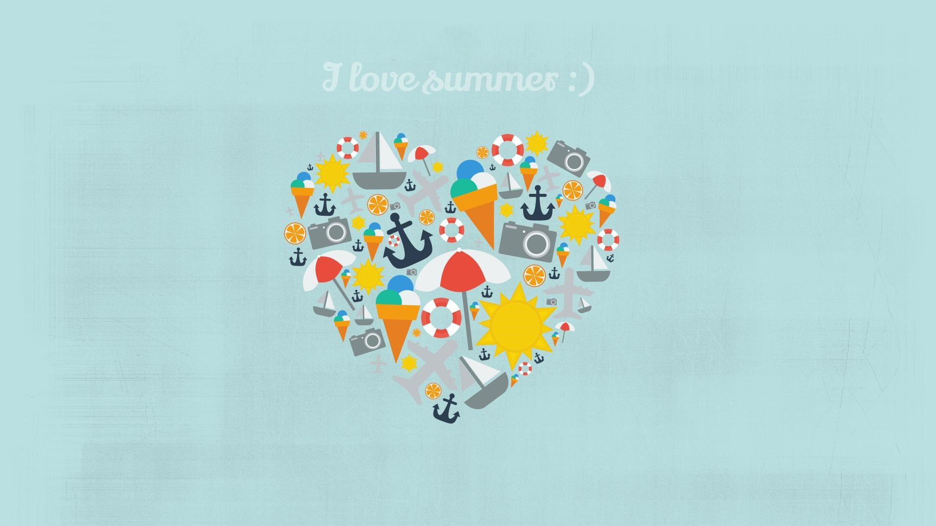 I Love Summers Heart Art HD Wallpaper