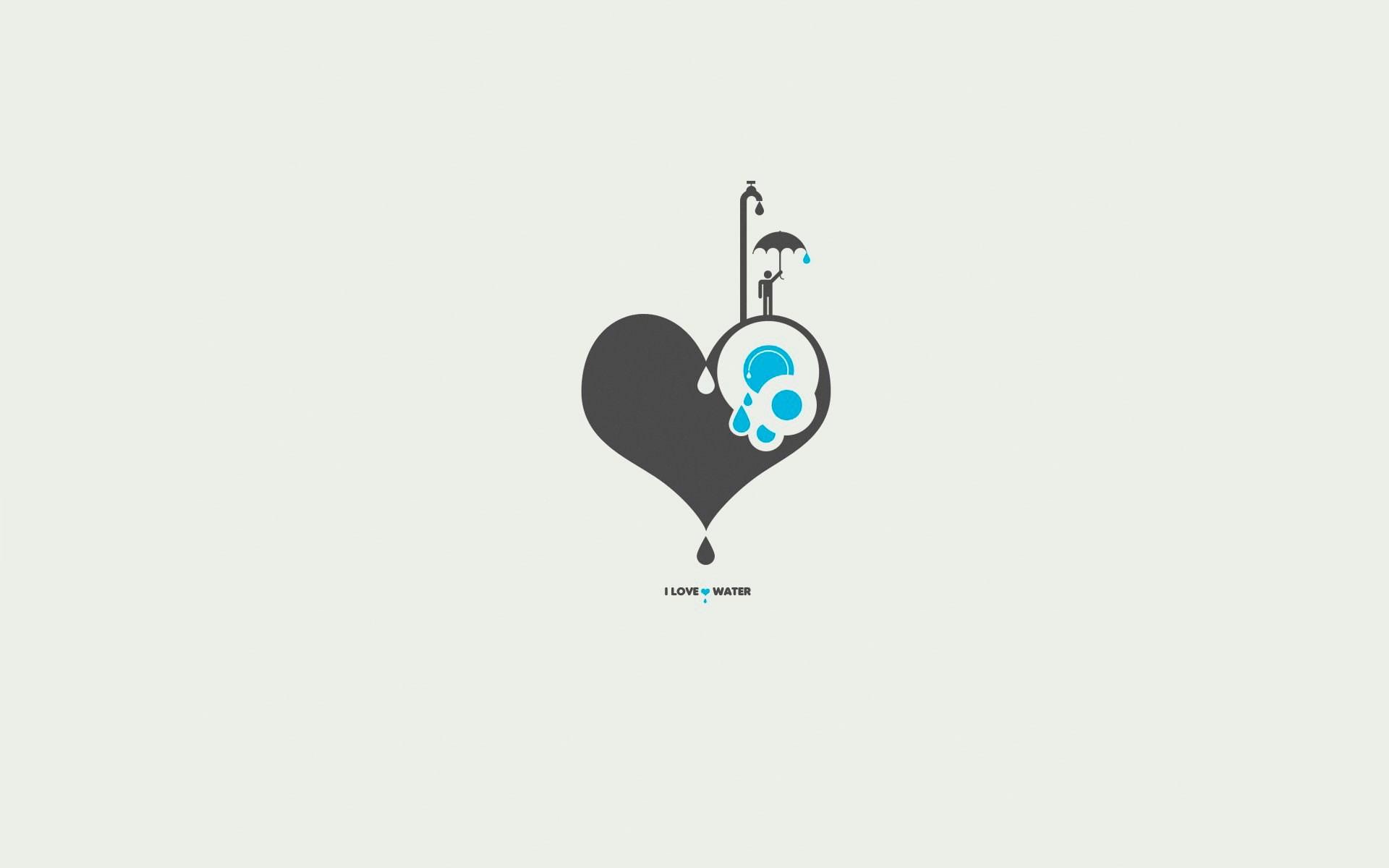 I Love Water Minimalism Umbrella Heart