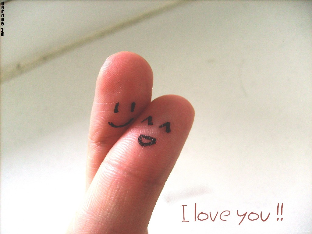 I Love You On Fingers Cute Wallpaper 1024x768px