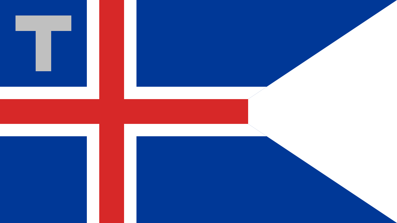 The flag of the Icelandic Customs Service. It has an aspect ratio of 9:16.