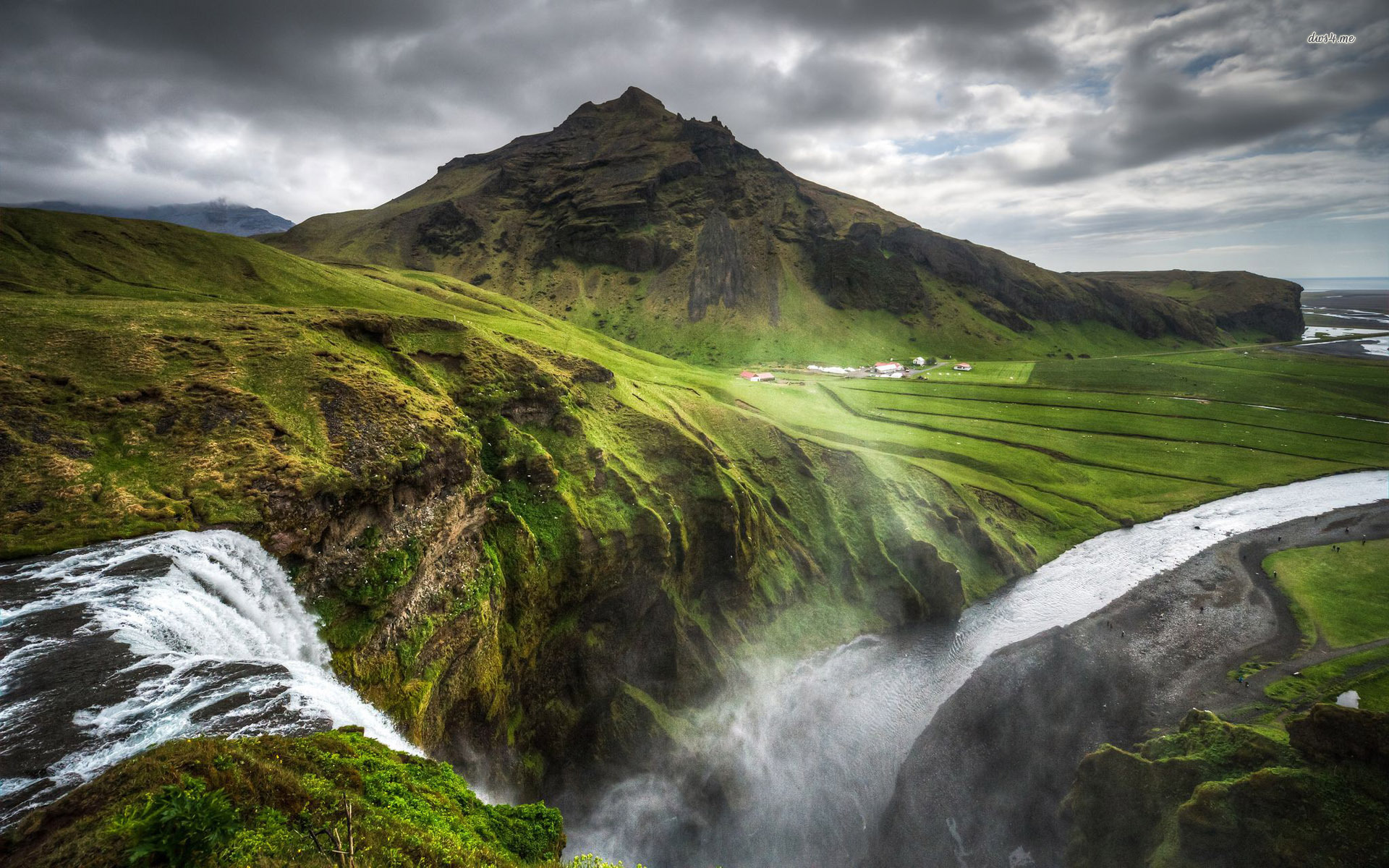 ... Skogafoss waterfall, Iceland wallpaper 1920x1200 ...