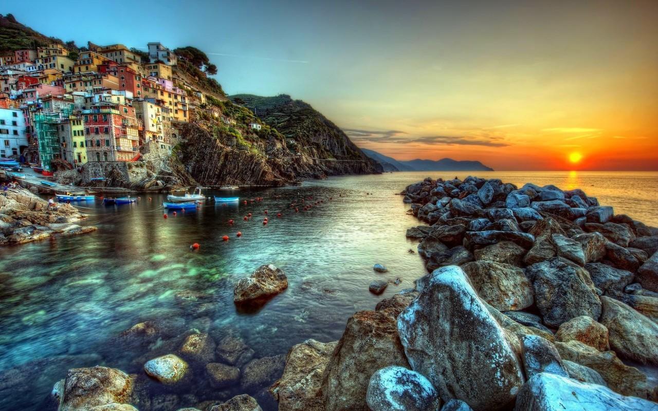 Sunset Italy Widescreen Wallpaper Wide