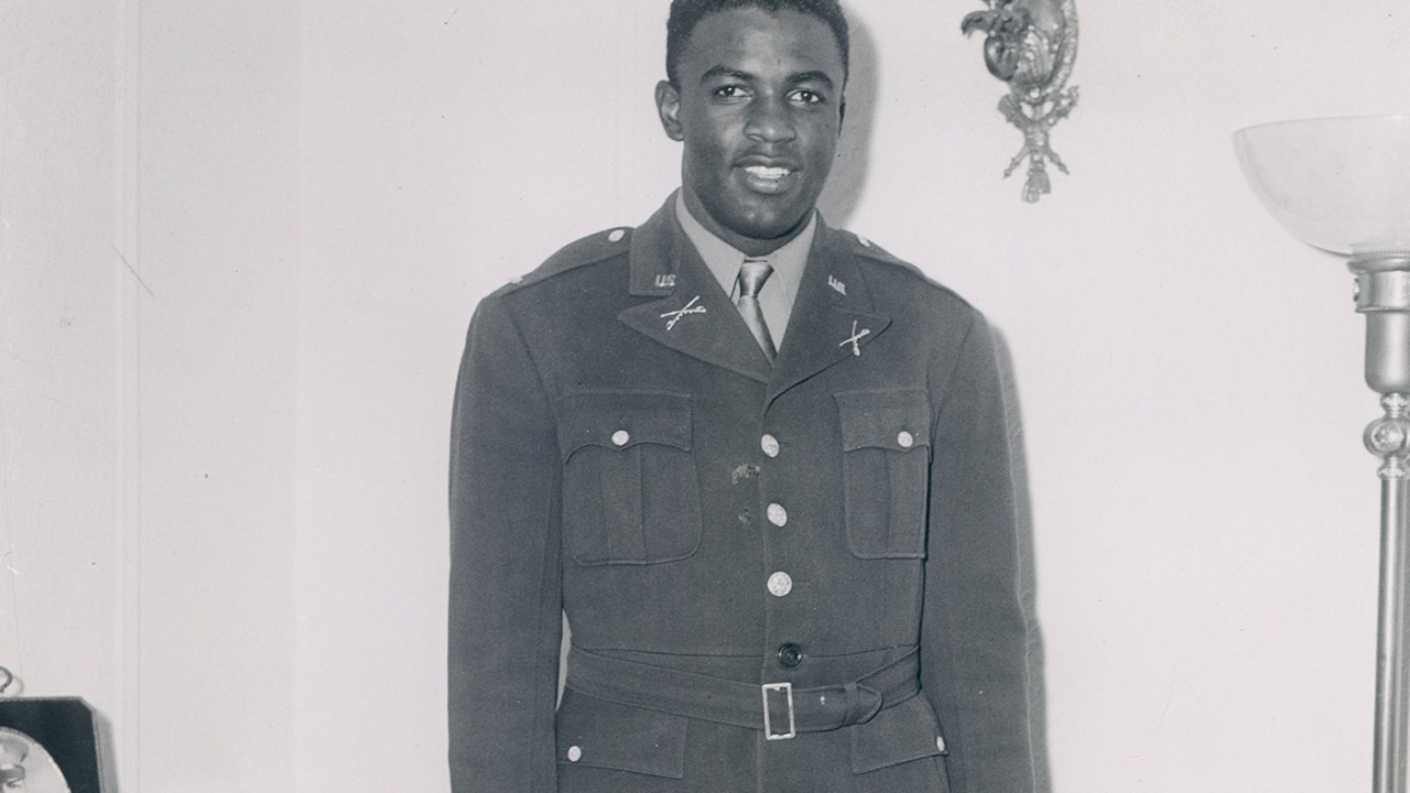Jackie Robinson in his U.S. Army uniform.