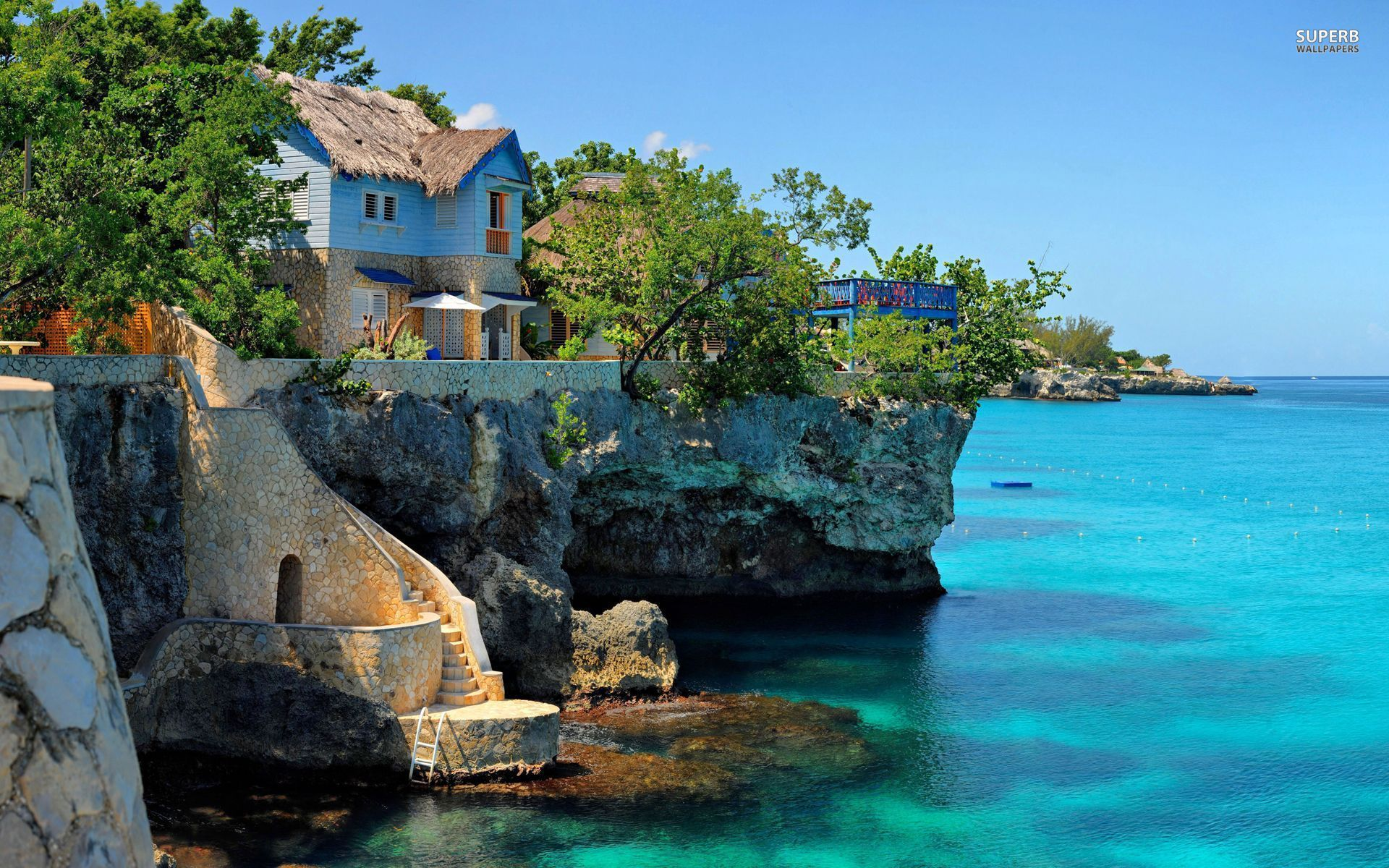 Coastal house in Negril, Jamaica wallpaper 1920x1200 jpg