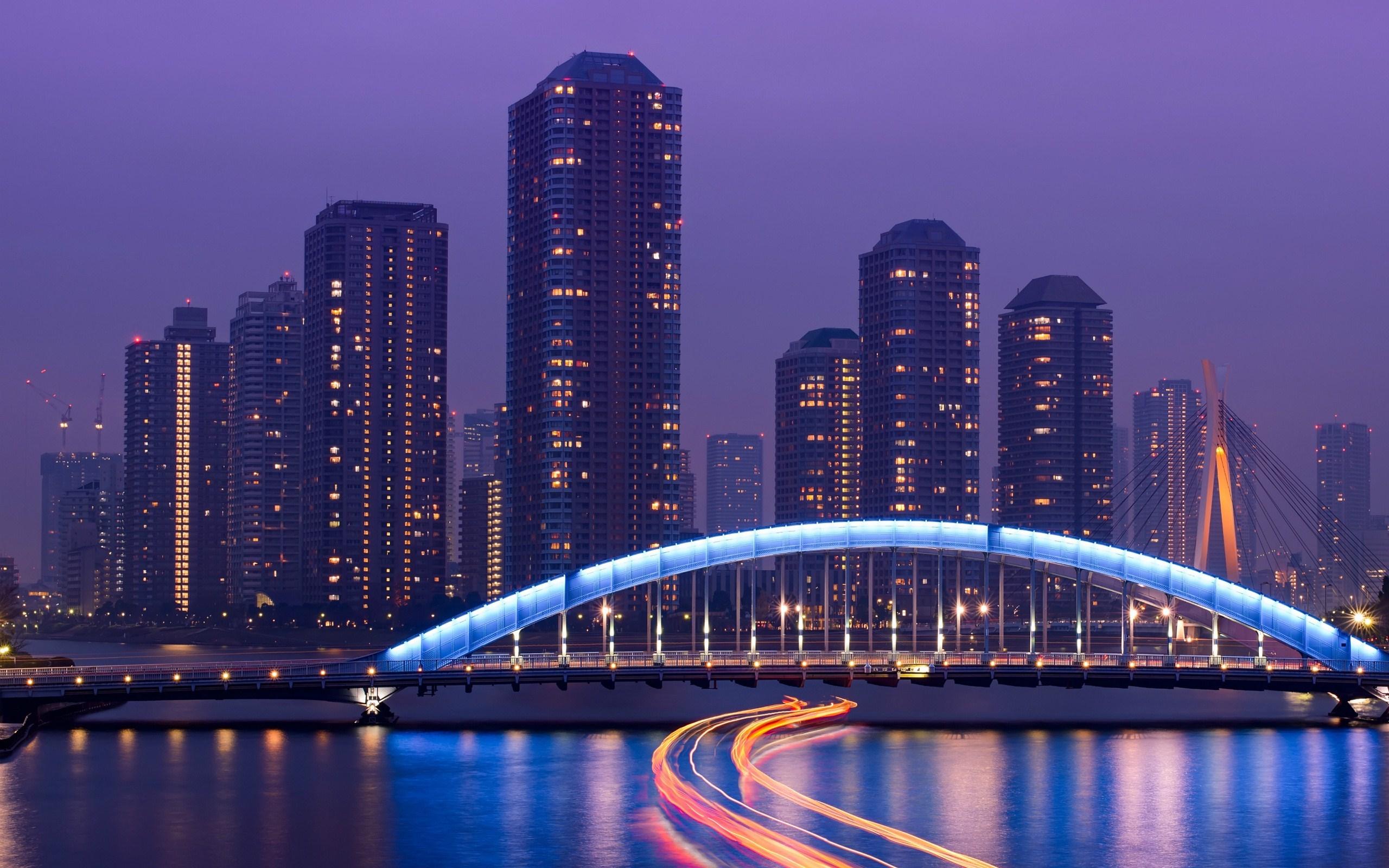 Japan Tokyo Skyscrapers Bridge Night