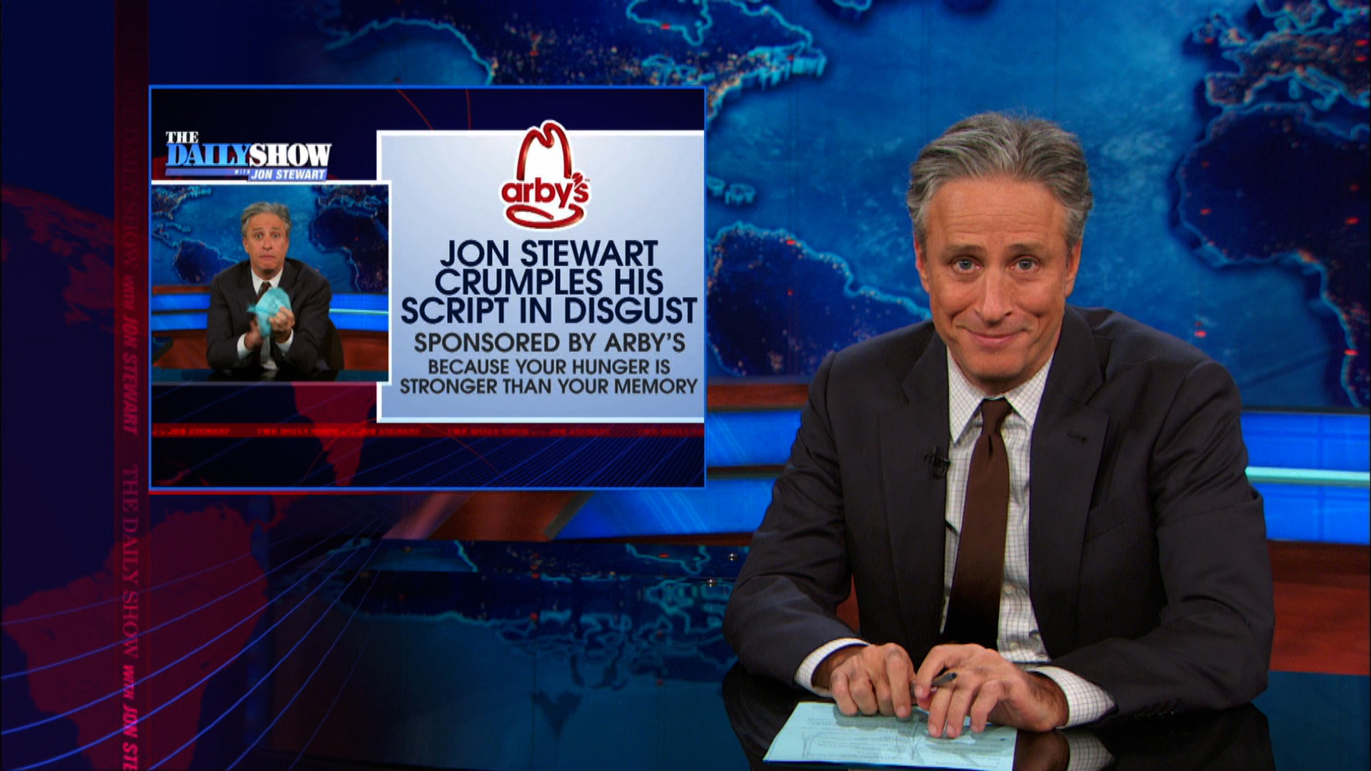 Jon Stewart mocks Atlanta-based Arby's on a regular basis. CREDIT; Comedy Central