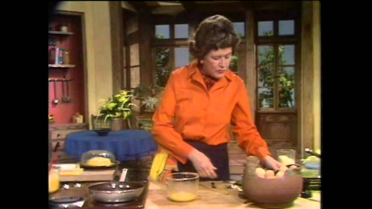 Julia Child makes an omelet