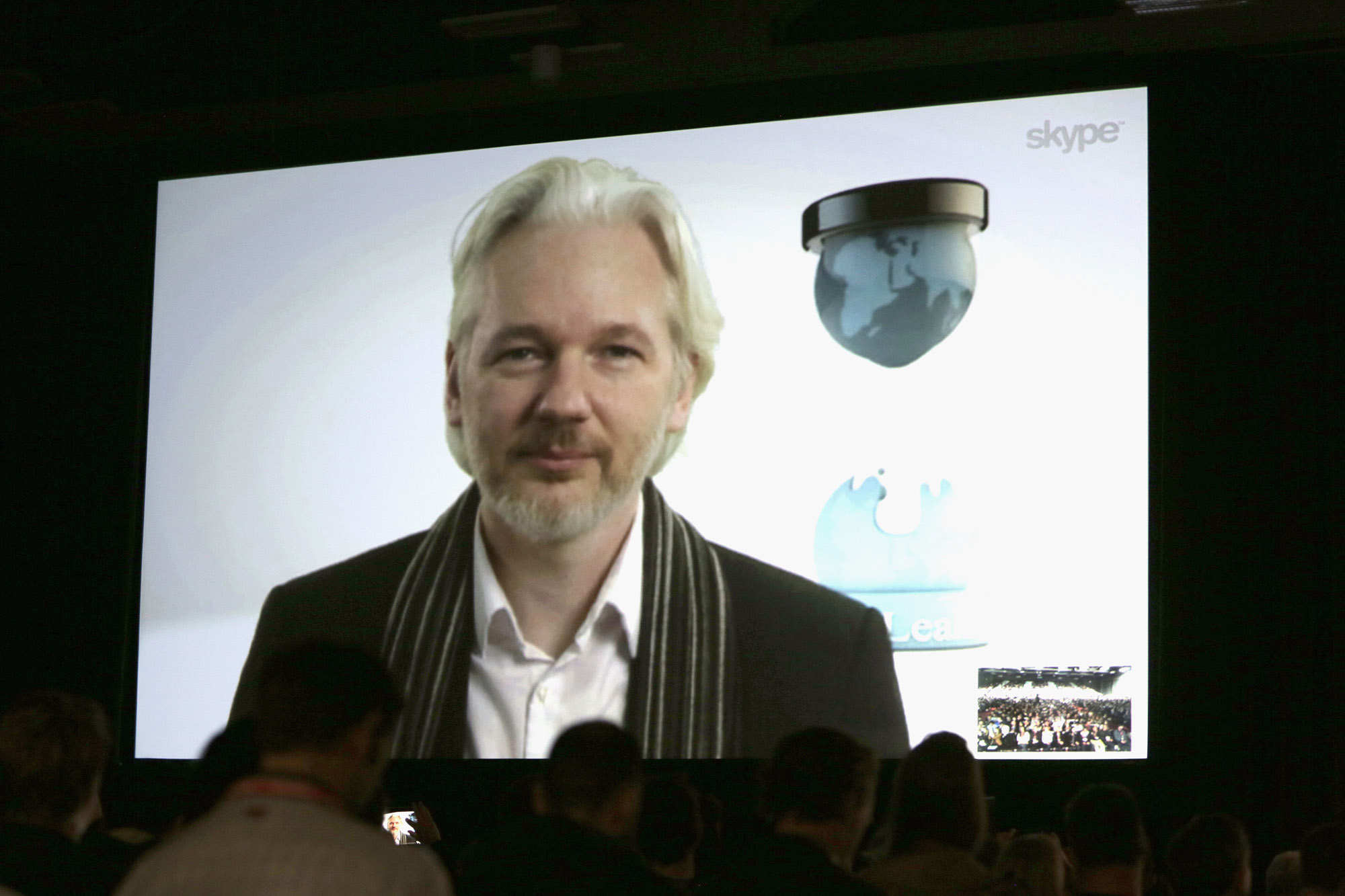 Wikileaks founder Julian Assange speaks onstage via Skype at SXSW. Photo: Getty Images