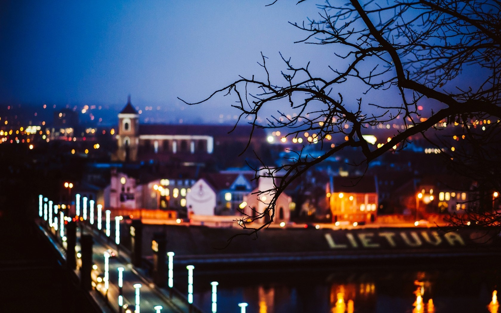 Kaunas Lietuva Lithuania City Bridge Night Lights