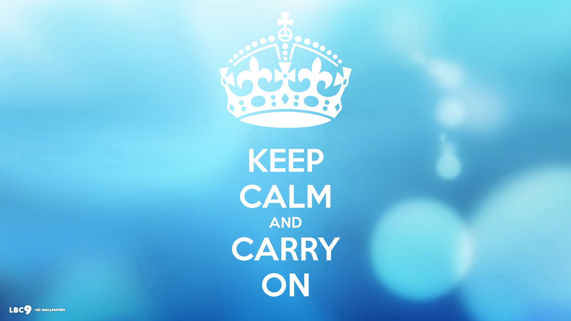 keep calm and carry on soft blue dots 1920x1080