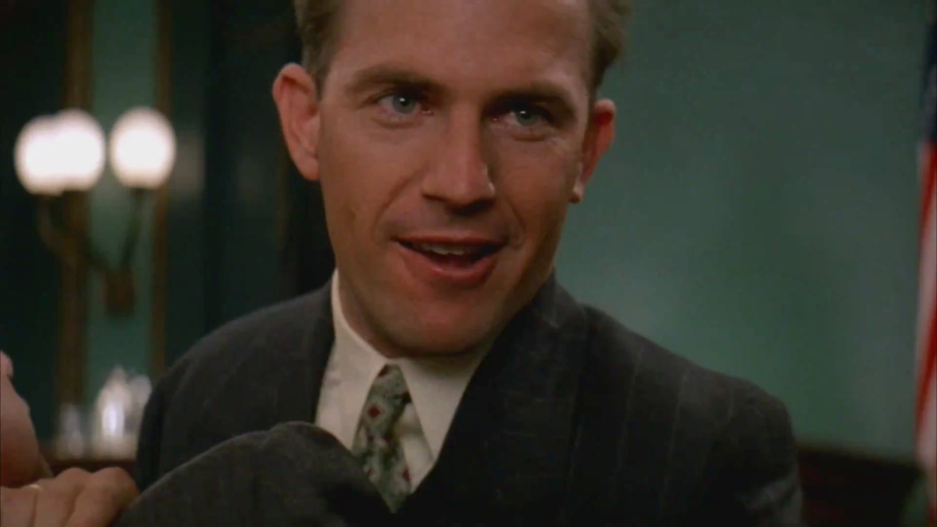 """Photo of Kevin Costner, portraying Eliot Ness in """"The Untouchables""""(1987). Source: The Official Trailer"""
