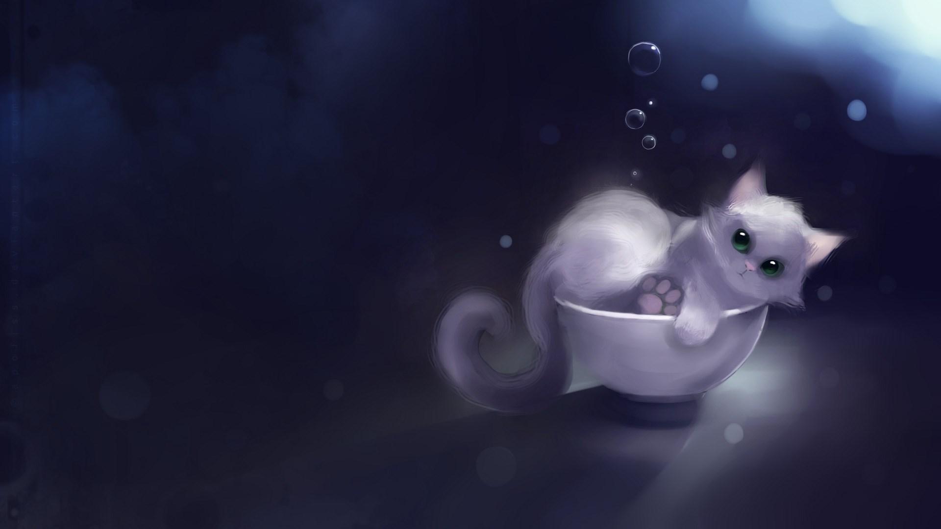 Kitten Cat Bubbles Art