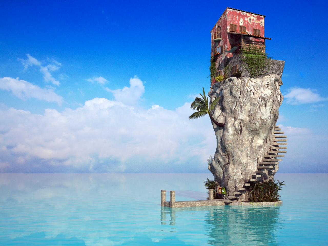 1280x960 Wallpaper rock, house, ladder, palm tree, sea, blue water
