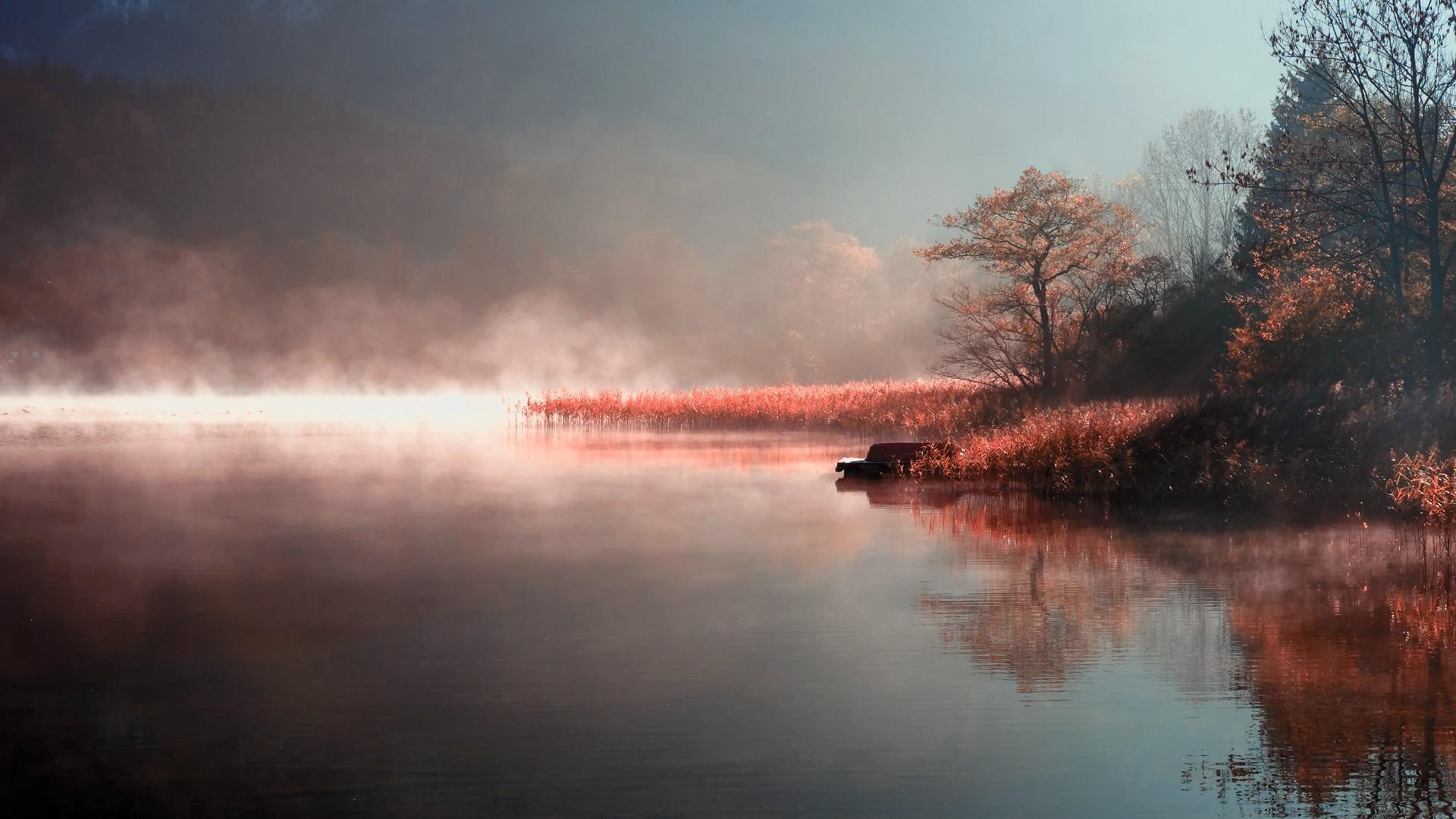 Awesome Lake Mist Wallpaper