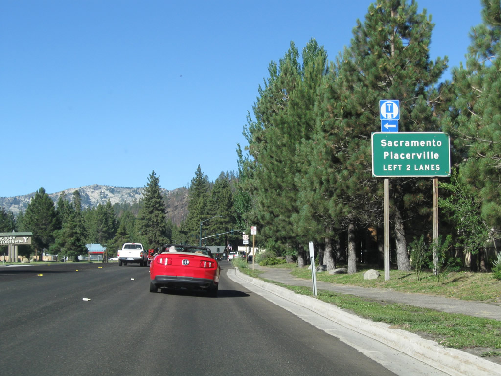 Through traffic on westbound U.S. 50/Lake Tahoe Boulevard (to Echo Summit, Placerville, and Sacramento) should merge left. Turn right to follow California ...