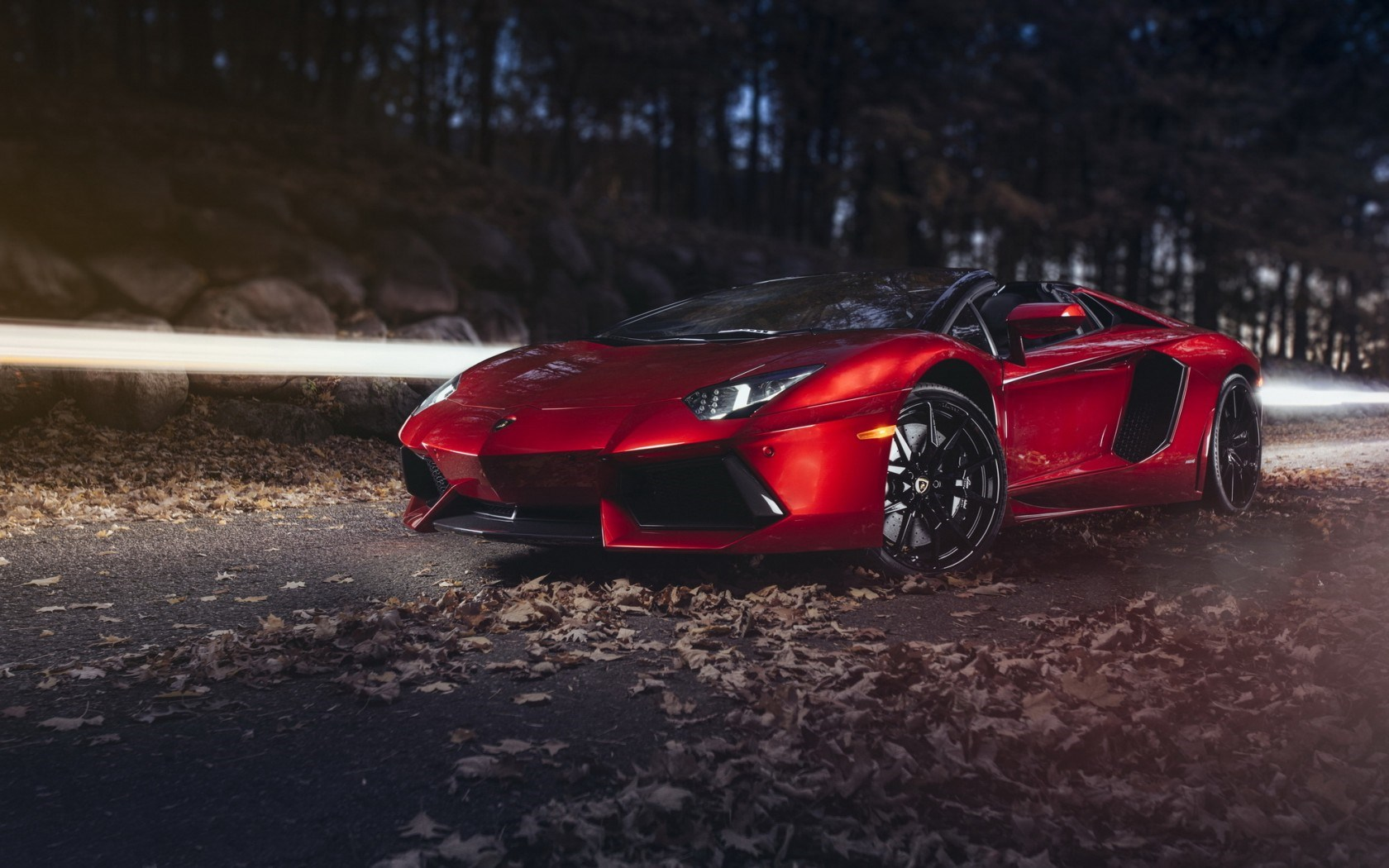 Lamborghini Aventador LP 700-4 Roadster Supercar Road Autumn