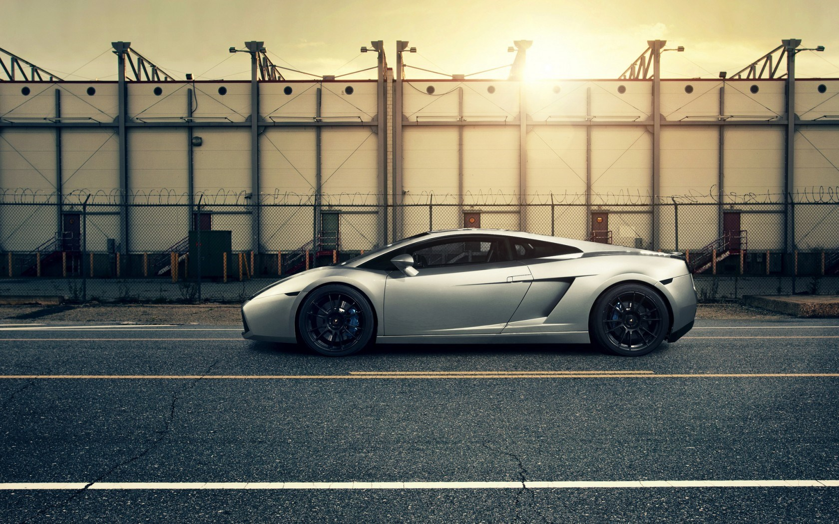 Lamborghini Car Parking Street Sunset