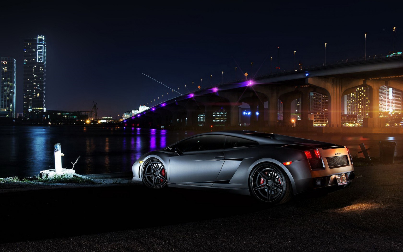 Lamborghini Gallardo Bridge Lights Night