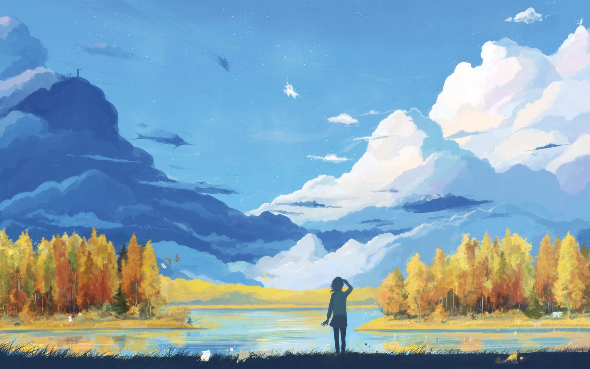 Girl Lake Clouds Landscape Drawing HD Wallpaper