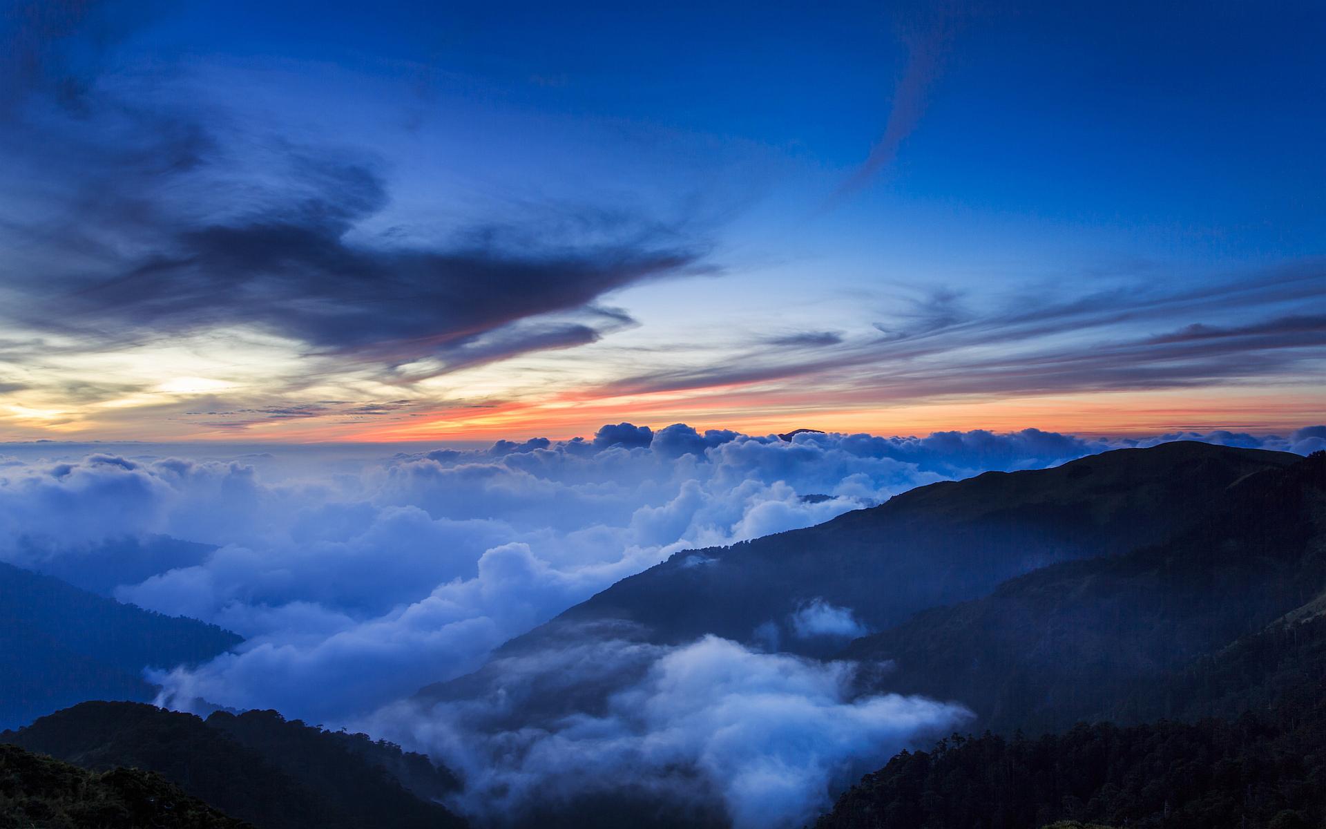 Landscape mountains evening