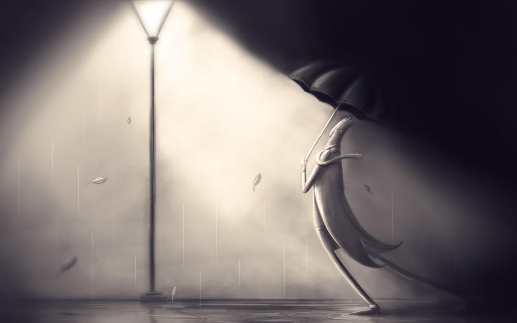 Lantern Man Coat Scarf Umbrella Rain Art