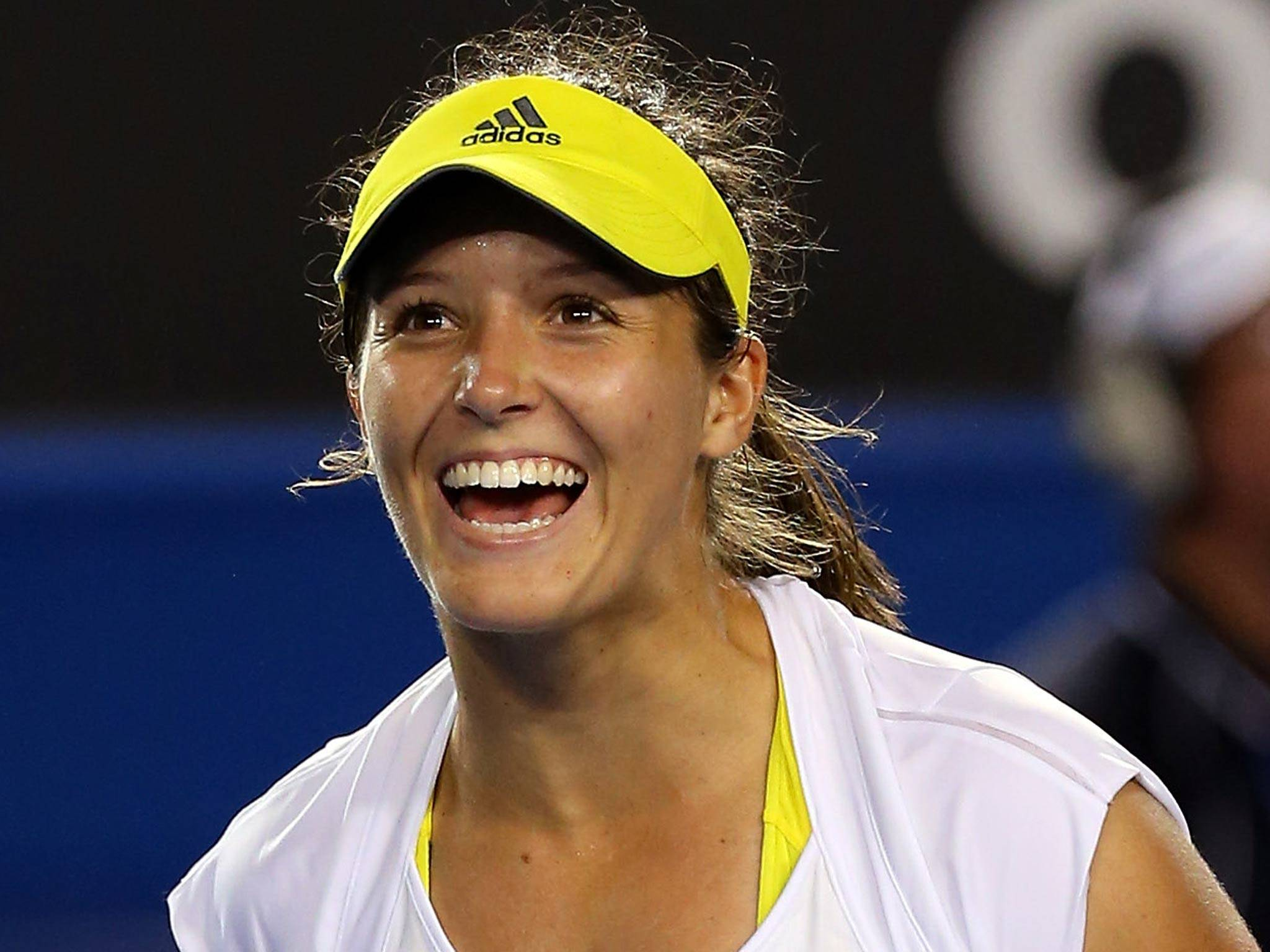 Happy: Laura Robson after being told Rishi Persad was waiting to interview her.