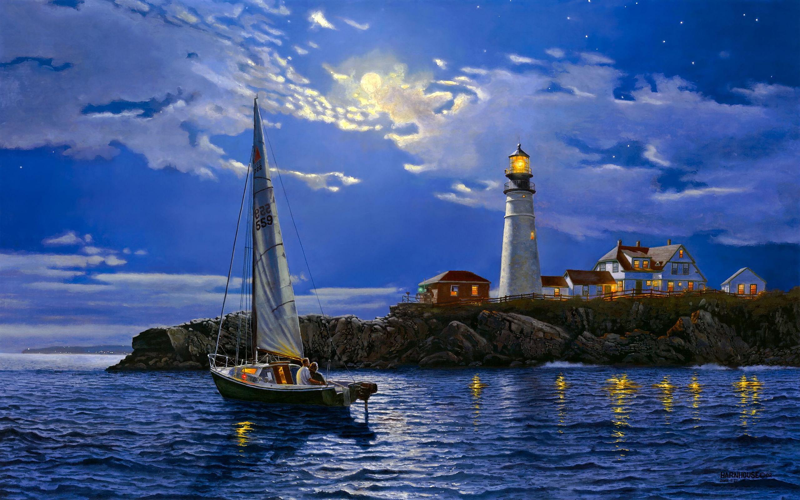 Couple lighthouse art